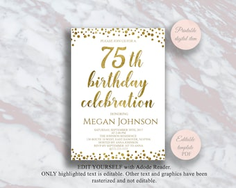 Editable 75th Birthday Invitation Gold Confetti 75 Years Party Celebration Invite Surprise S2bd