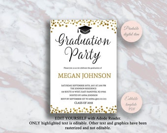 grad party invite etsy