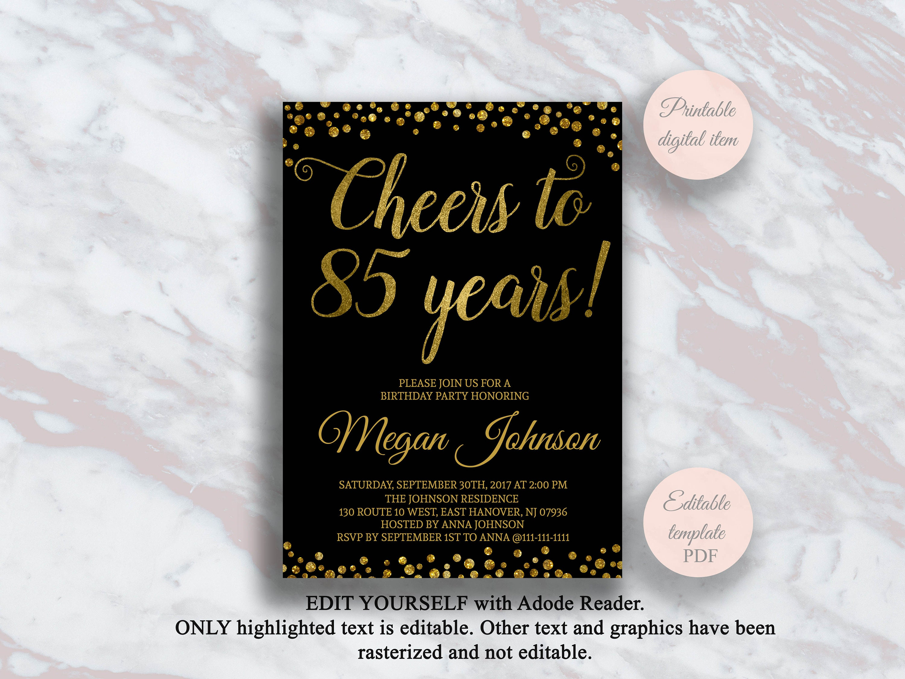 Editable 85th Birthday Invitation Cheers To 85 Years Black
