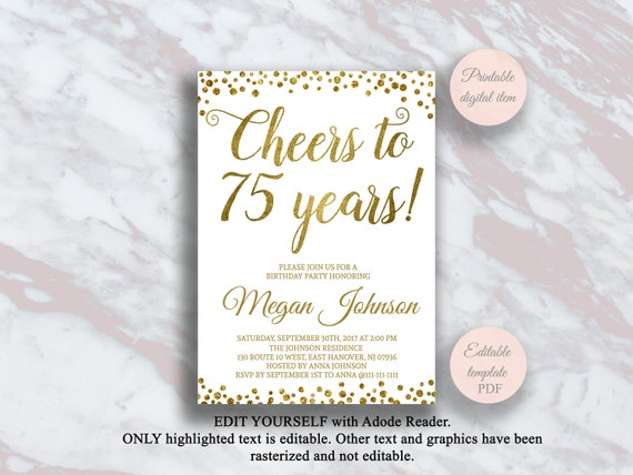 Editable 75th Birthday Invitation Cheers To 75 Years Gold Confetti Party Anniversary Invite Surprise S11bd