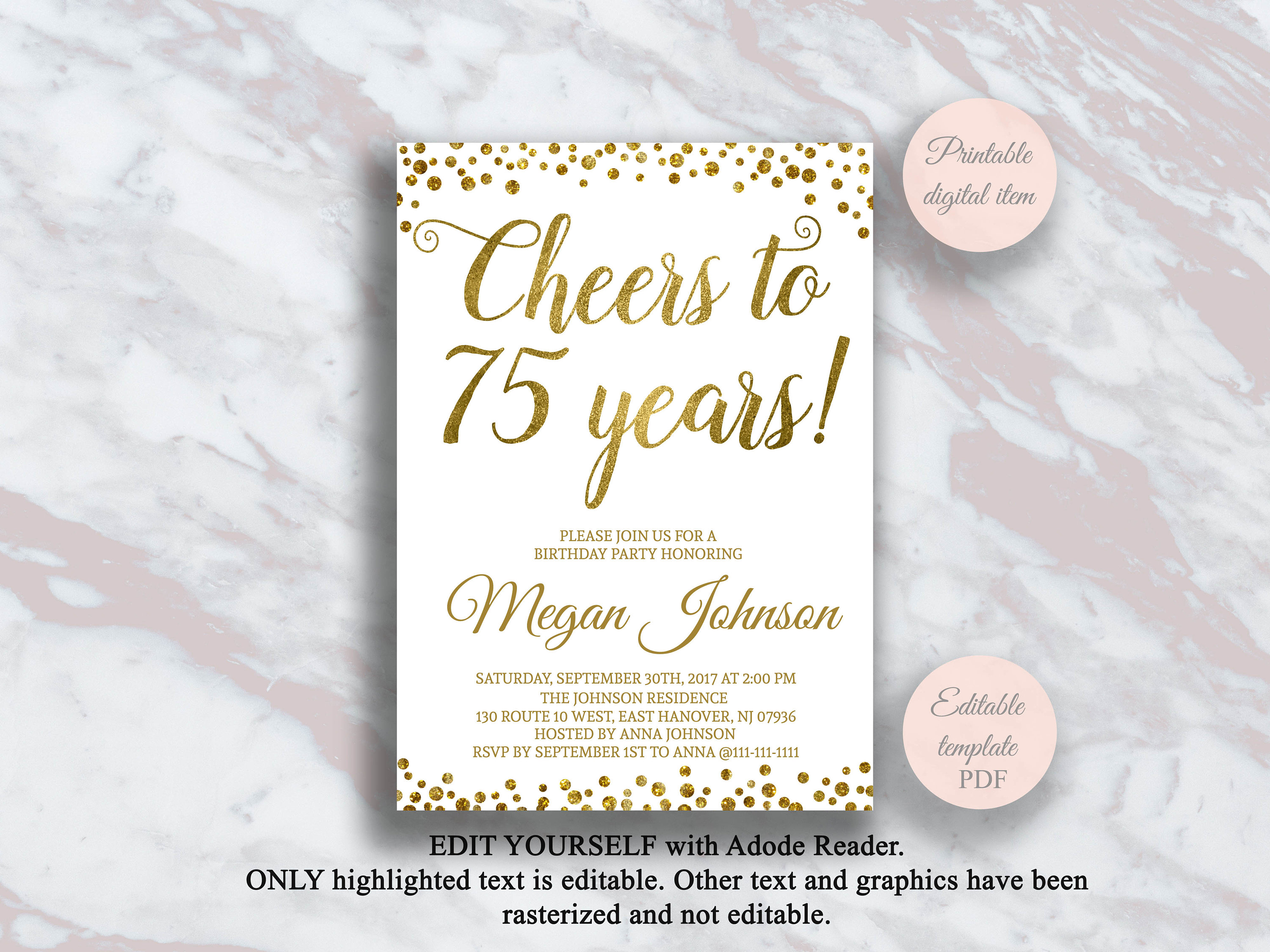 Editable 75th Birthday Invitation Cheers To 75 Years Gold