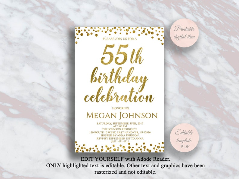 Feesten Speciale Gelegenheden 55th Birthday Party Invitations Age 55 Male Mens Female Womens Pack 20 Invites