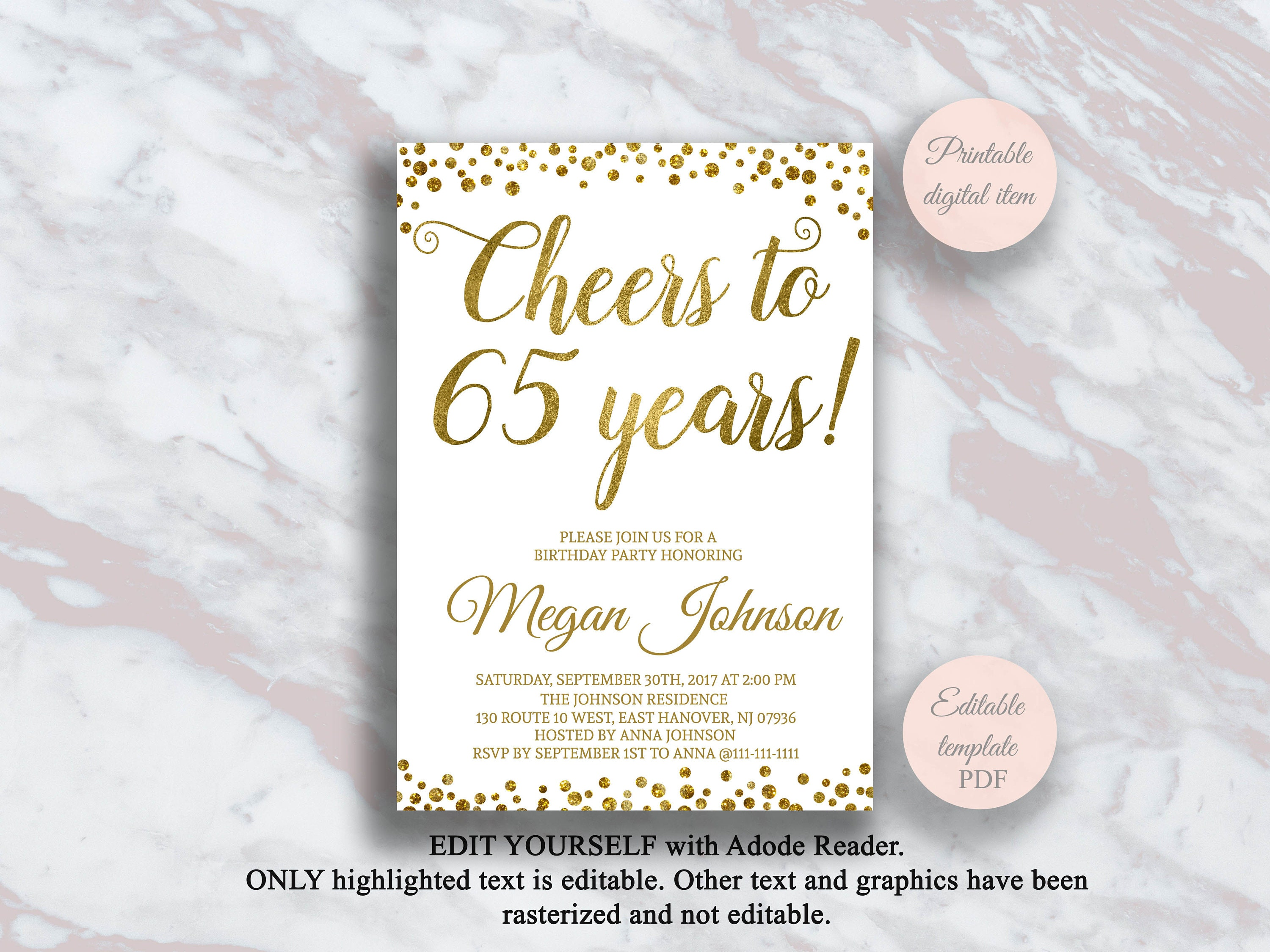 Editable 65th Birthday Invitation Cheers To 65 Years Gold