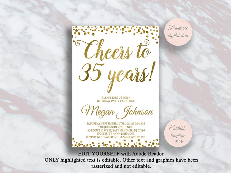 Editable 35th Birthday Invitation Cheers To 35 Years Gold