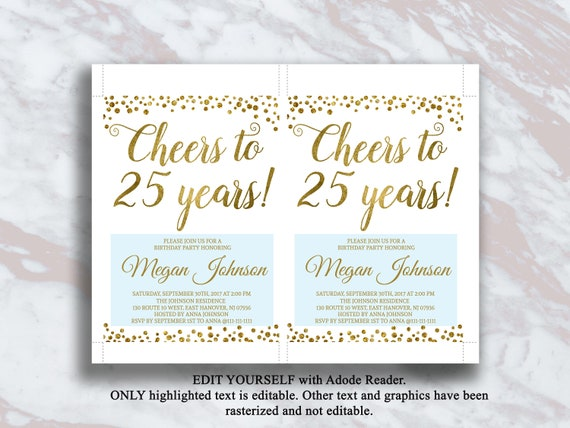 Editable 25th Birthday Invitation Cheers To 25 Years Gold