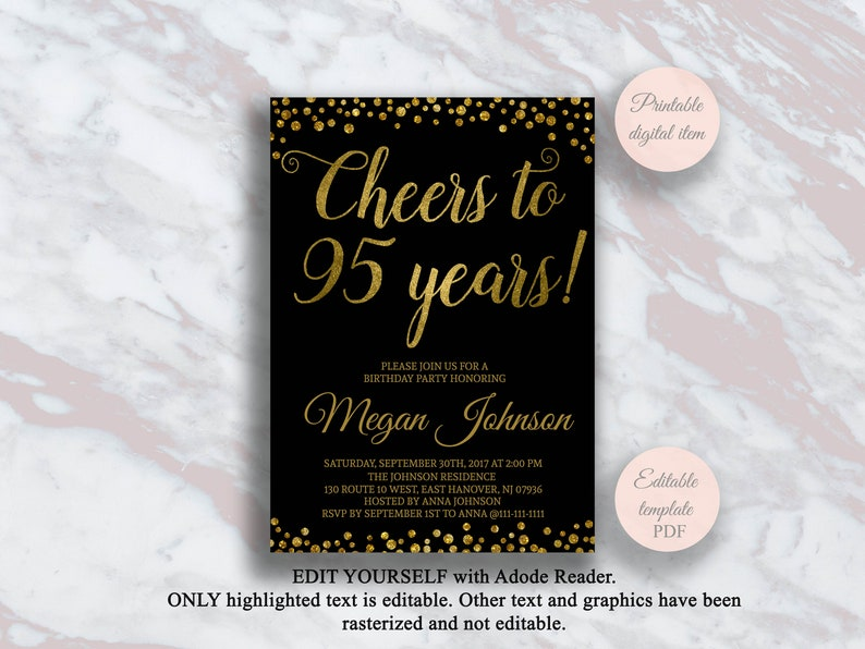 Editable 95th Birthday Invitation Cheers To 95 Years Black
