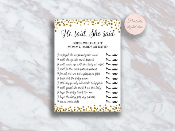 Mommy Or Daddy Funny Baby Shower Games He Said She Said Etsy