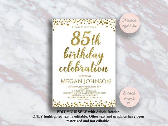 Editable 85th Birthday Invitation Gold Confetti 85 Years
