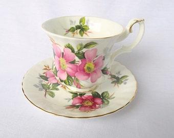 Vintage Royal Albert, Bone China England, ''Prairie Rose'', Porcelain Cup and Saucer