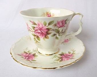 Vintage Royal Albert, Bone China England, ''Romance'' Porcelain Cup and Saucer