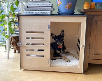 Modern dog crate with acrylic door with a latch Dordrecht. Dog kennel, dog house, dog bed, indoor dog house, dog furniture, dog cage.
