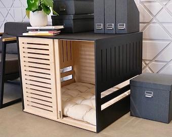 Modern dog crate with sliding door with a latch Dordrecht. Dog kennel, dog house, dog bed, indoor dog house, dog furniture, dog cage.