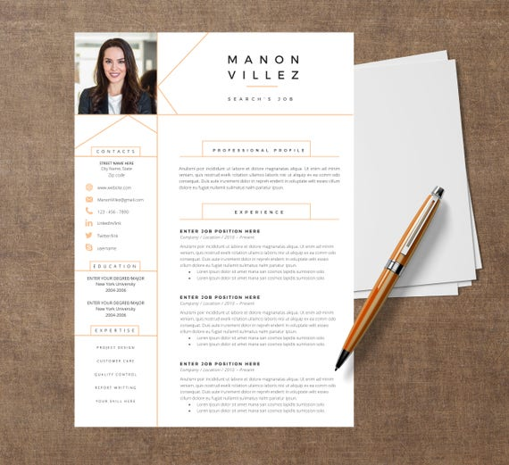 template modern of resume manon cv template for word