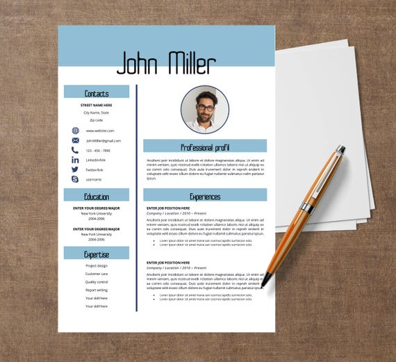 Template Modern Of Resume John Cv Template For Word Etsy