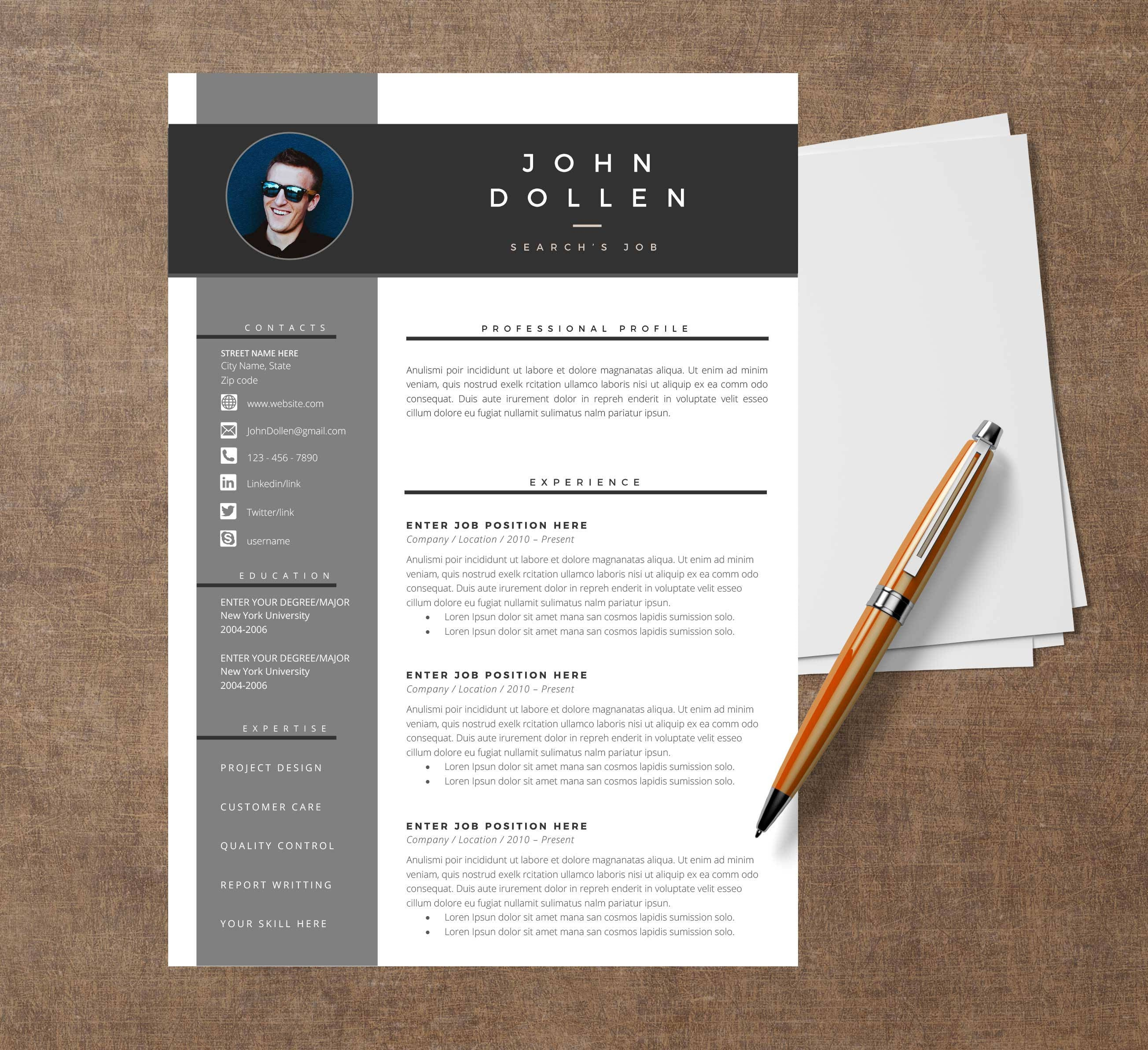 template modern of resume cv template for word cover