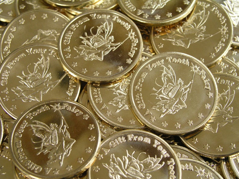 20 Golden Tooth Fairy Coins by Artist Dawn Duane image 0