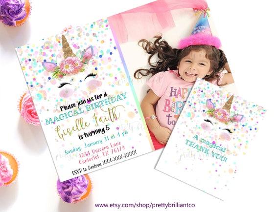 Birthday Thank You Note Printable Thank You Cards Birthday Etsy