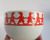 Kaj Franck Enamel Bowl Tonttu Pattern for Finel - Arabia Finland Christmas, Elves, Red and White, Circa 1960s, MCM Kitchenalia Retro