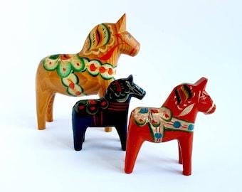 Vintage Dala Horses Set of 3 Swedish GA Olsson Erik Pell Nusnas Hand Carved Hand Painted Mid-Century Scandinavian Folk Art Original Sticker