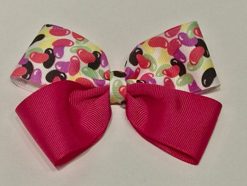 Jelly Bean Double-Pinched Hair Bow Spring Hair Bow Easter Hair Bow