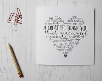 Little Paperie - Heartfelt 'A Great big thank you' greeting card - Thank you