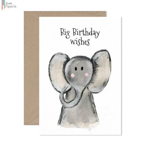 Big Birthday Wishes Greeting Card Elephant