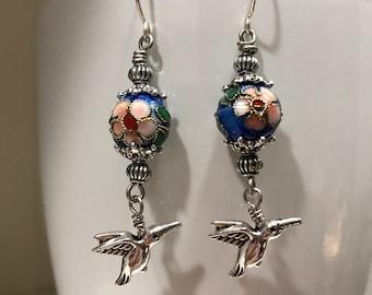 Hummingbird and cloisonné bead earrings