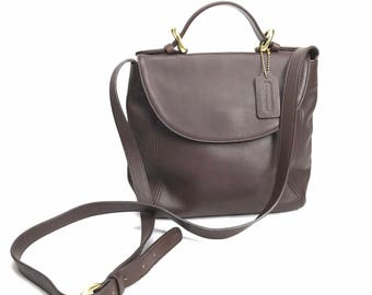 Coach Leather Dark Brown Soho Flap Cross Body Hand bag