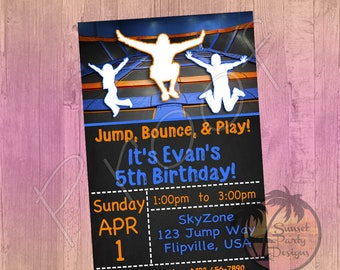Trampoline Park SkyZone Birthday Party Invitation PRINTED OR DIGITAL Printed And Shipped Jumping
