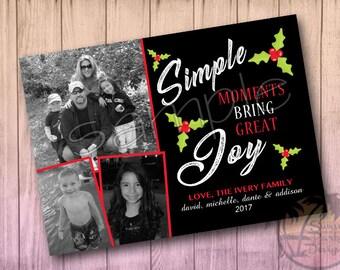 Christmas card, Custom Photo Christmas card, Holiday Card, Printable Christmas card, Holly Berry Christmas card: PRINTABLE DIGITAL FILE