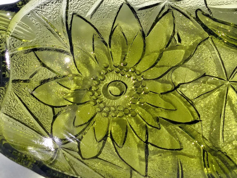 Olive Green Oval Bowl Candy Dish with Lotus Flowers and Lily pads