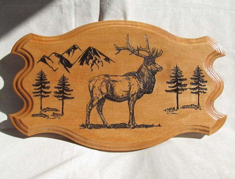 Wood elk carving wood carving cabin decor rustic decor etsy