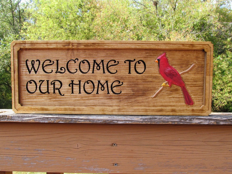 Wood bird carving wood welcome sign carved wood cardinal etsy
