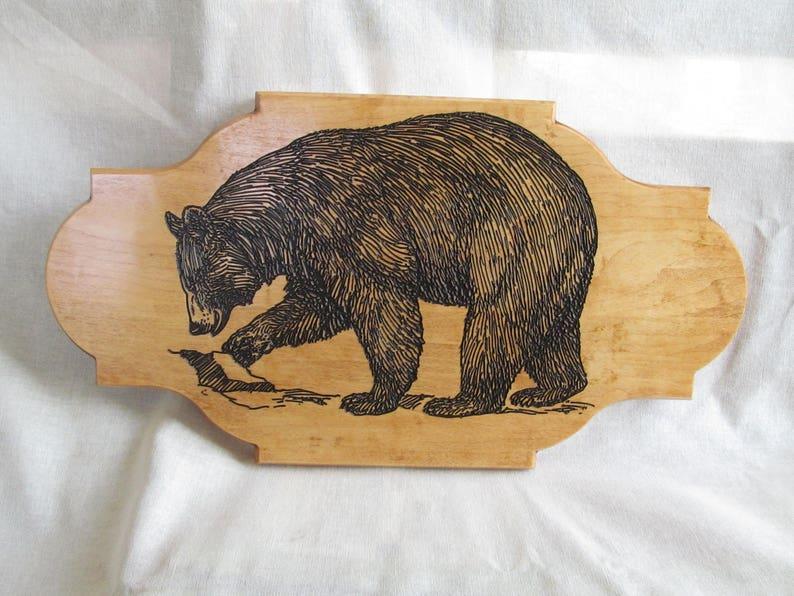 Wood engraved black bear carving rustic wood carving cabin etsy