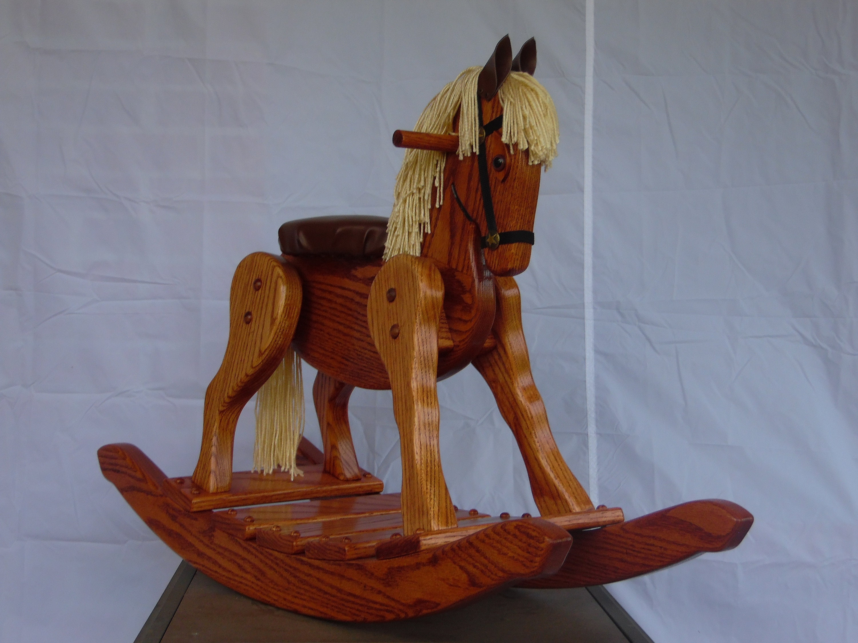 Handcrafted Red Oak rocking horse