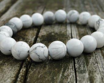 White Howlite Bracelet | Gemstone Bracelet | Marble Bracelet | Mens Bracelet | Womens Bracelet | Yoga Bracelet | Healing Bracelet