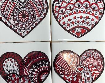Red Mandela Heart Coasters