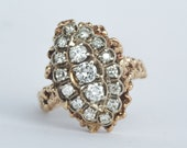 Vintage Custom Handmade Natural Freeform Style 14k Yellow Gold and Diamond Ring .85+ CTW - Size 8-3/4 - Navette Very Fine Milgrain - Estate