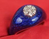 Lovely Blue Enamel & Diam...