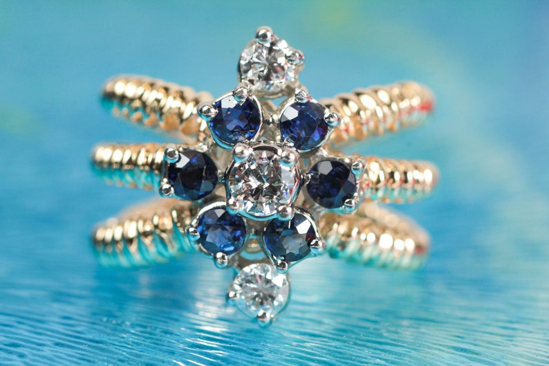 Vintage 3 Stand Ribbed Sapphire & Diamond Ring  Natural image 0