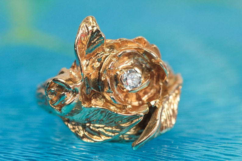 Vintage 14k Yellow Gold Rose & Diamond Ring  Beautiful Rose image 0