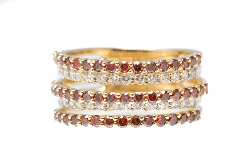 Stacking Band Diamond and Garnet 5 Row Ring  14k Yellow Gold image 0