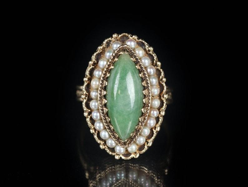 Vintage Custom Made Green Jade Ring  14K Yellow Gold  Pearl image 0
