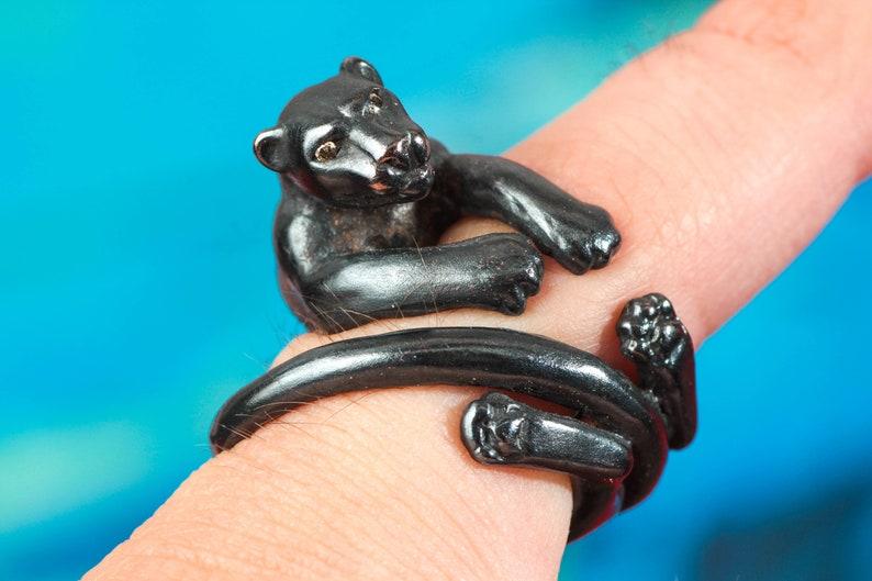 Spinelli Custom Handmade Black Jaguar Shakudo Ring  Diamond image 0