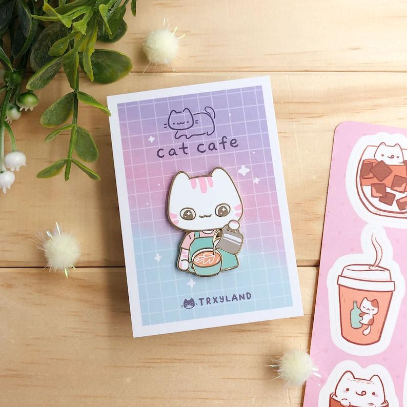 Berri the Barista Enamel Pin  Cat Cafe Series  TRXYLAND