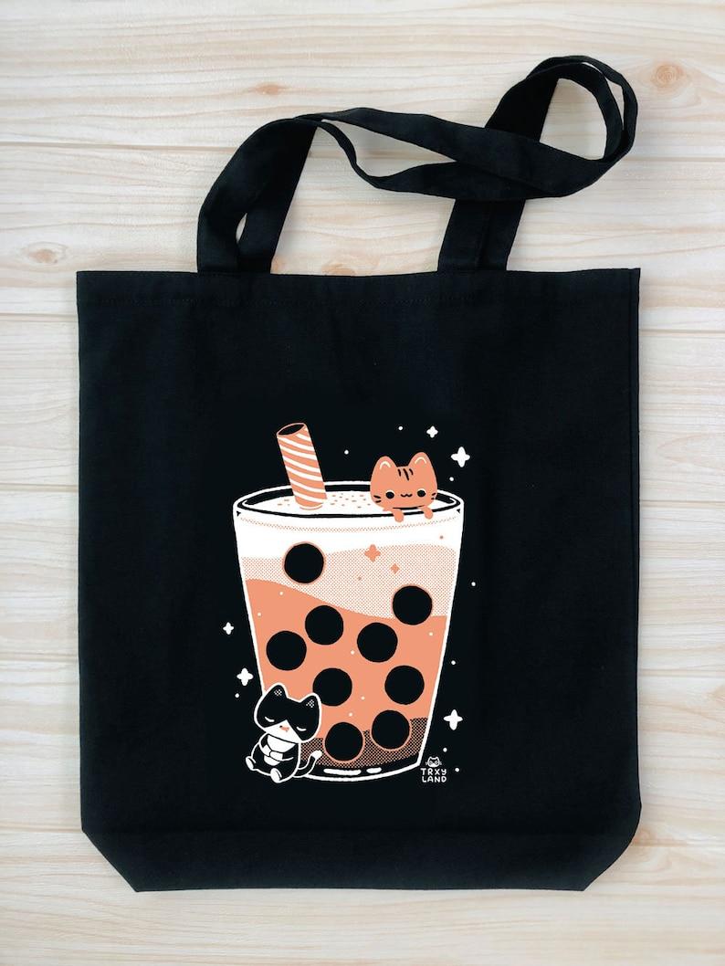 Boba Dreams Tote Bag Black 2nd Edition  Bubble Tea Pin Display Bag  Enamel Pin Ita Bag  TRXYLAND