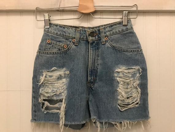 Vintage Levi's ~ High Waist Distress Cut-off Deni… - image 1