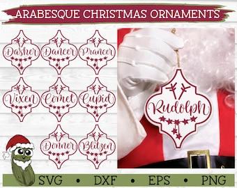 Arabesque Tile Reindeer Christmas Ornaments SVG Bundle - dxf, eps, png, Cut File, Cricut, Silhouette Cameo, Digital Download