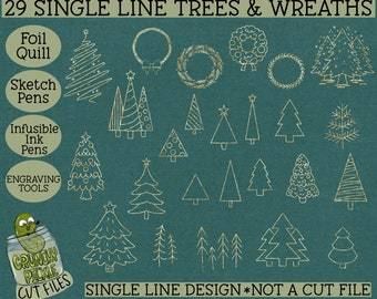 29 Foil Quill Christmas Trees & Wreaths Set Single Line SVG use with Sketch Pens, Engraving tools, Infusible Ink Pens Digital Download