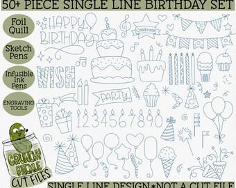 Foil Quill Birthday 50 Piece Bundle / Single Line SVG - also for Sketch Pens, Cricut Transfer Foil, Infusible Ink Pens, Digital Download